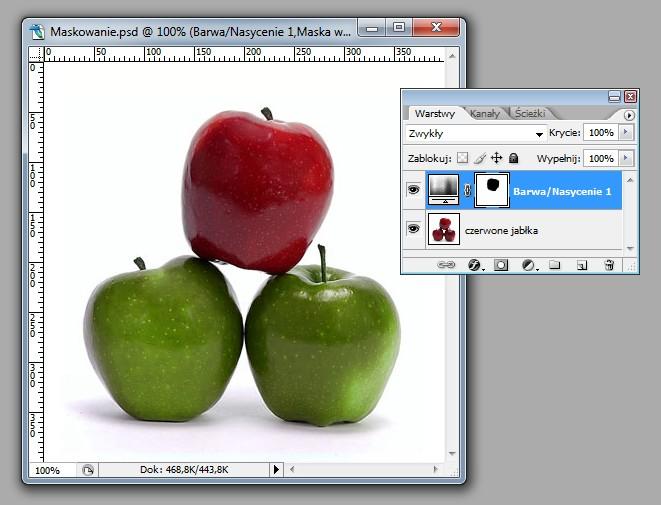 Odwrócenie maski - zmiana koloru wszystkich jablek
