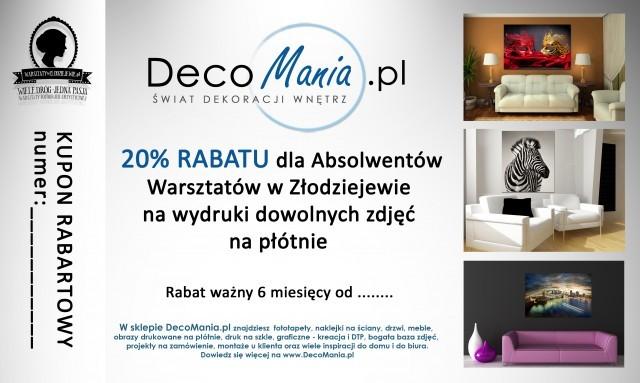 kupon rabatowy od DecoMania.pl dla Absolwentów Warsztatów w Złodziejewie