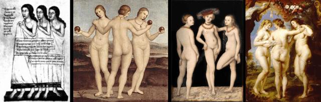 Ewolucja podejścia i różne sposoby przedstawiania motywu, który wielokrotnie był popisem umiejętności malarzy - zmizerniałe, wystraszone Trzy gracje ze średniowiecznego manuskryptu, przez mój ukochany renesans, po barok.