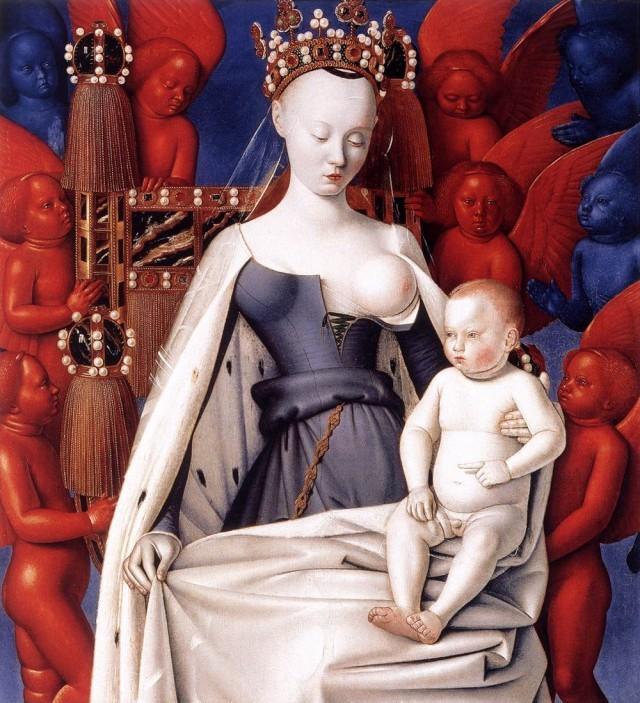 """Madonna z Melun"" Jean Fouquet 1451 rok"