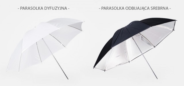 parasolka srebrna, parasolka dyfuzyjna