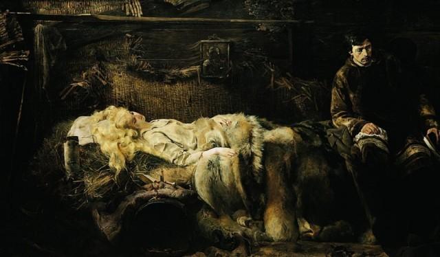 """Oto jeden z moich ukochanych obrazó """"Śmierć Ellenai"""" Jacka Malczewskiego, kolejny przykład mistrzowskiego zastosowania jednej palety barw, stworzenie nastroju doborem kolorów i większą świetlistością wybranych elementów"""