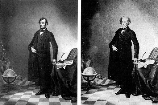 Głowa Lincolna w miejscu głowy  Johna Calhouna - jedna z najstarszych manipulacji, 1960.